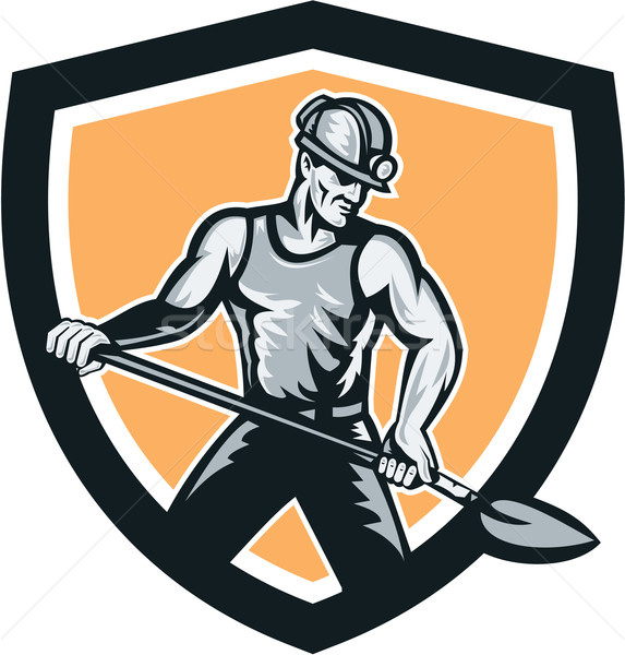 Coal Miner Hardhat Shovel Shield Retro Stock photo © patrimonio