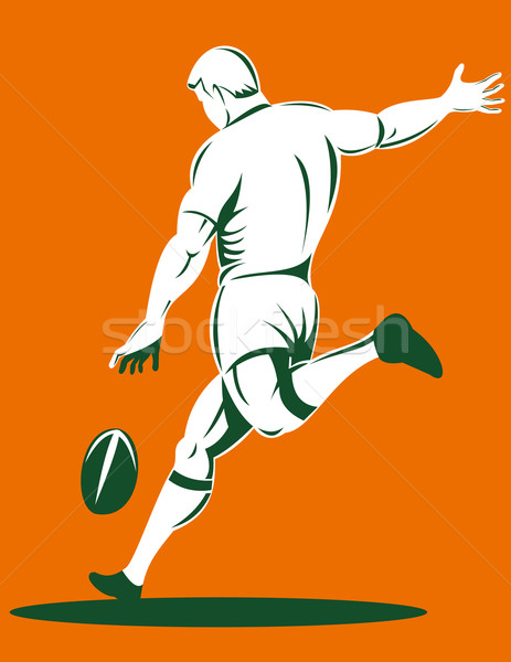 rugby player kicking ball rear view Stock photo © patrimonio