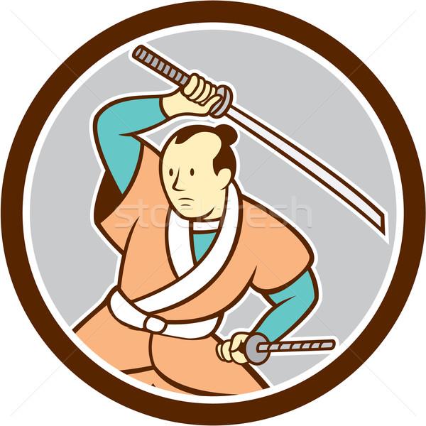 武士 戦士 剣 サークル 漫画 実例 ストックフォト © patrimonio