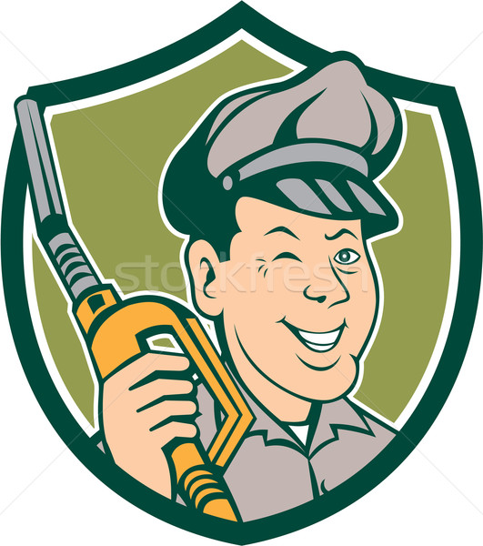 Gas Attendant Nozzle Winking Shield Cartoon Stock photo © patrimonio