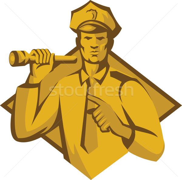 Polis polis memuru el feneri Retro örnek Stok fotoğraf © patrimonio
