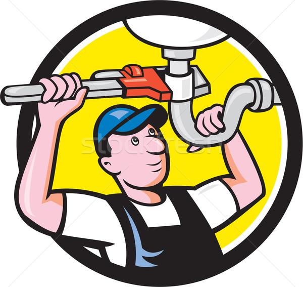 Plumber Repair Sink Pipe Wrench Circle Cartoon Stock photo © patrimonio