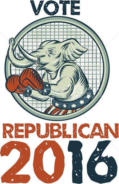 Vote Republican 2016 Elephant Boxer Etching Stock photo © patrimonio