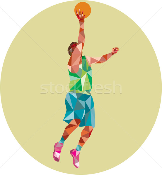 Basketball Player Lay Up Rebounding Ball Low Polygon Stock photo © patrimonio