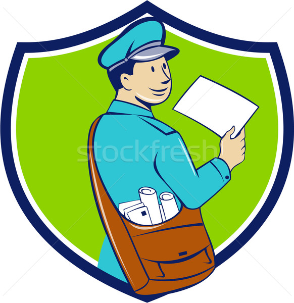Mailman Deliver Letter Crest Cartoon Stock photo © patrimonio