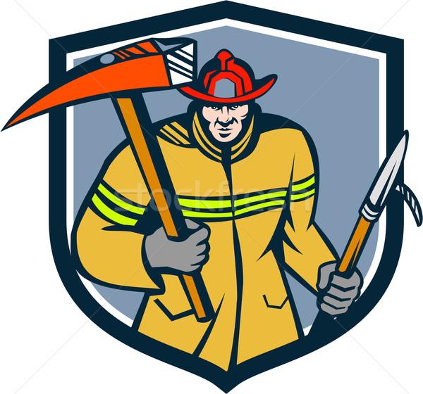 Pompiere pompiere fuoco ax gancio cresta Foto d'archivio © patrimonio