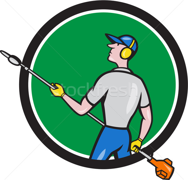 Gardener Hedge Trimmer Circle Cartoon Stock photo © patrimonio