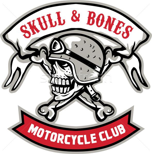 Skull Bones Bike Helmet Ribbon Retro Stock photo © patrimonio