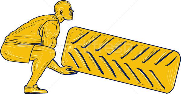 Fitness Athlete Squatting Lifting Tire Drawing Stock photo © patrimonio