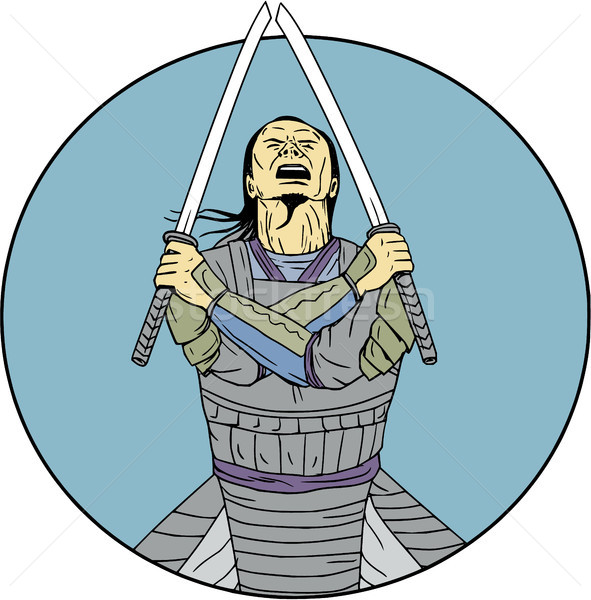 Samurai Warrior Two Swords Looking Up Circle Drawing Stock photo © patrimonio