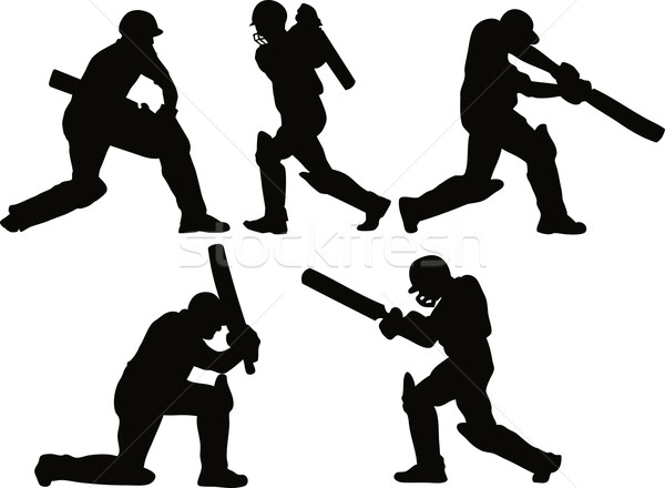 Cricket joueur silhouette design graphique illustration silhouettes Photo stock © patrimonio