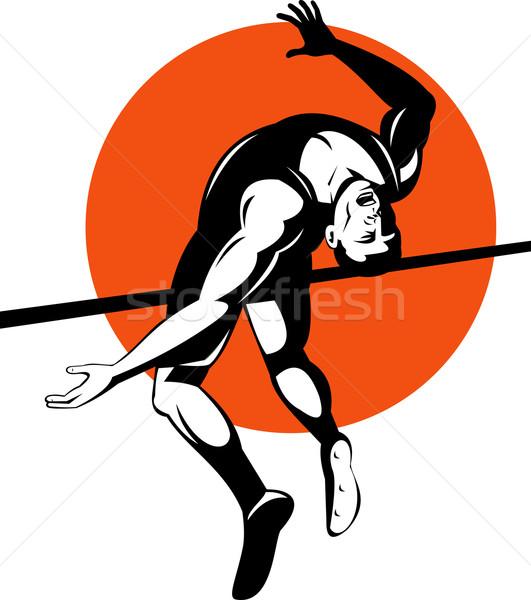 Suivre domaine athlète sautant saut en hauteur illustration Photo stock © patrimonio