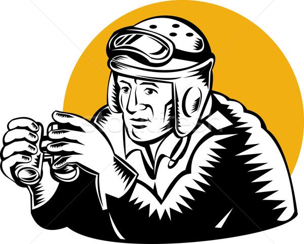 Militaire réservoir commandant jumelles illustration rétro Photo stock © patrimonio