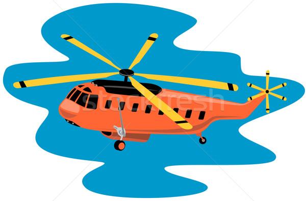 Helikopter retro illusztráció repülés repülés retró stílus Stock fotó © patrimonio