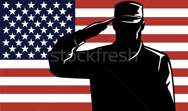 Stock photo: American Solder Serviceman Saluting