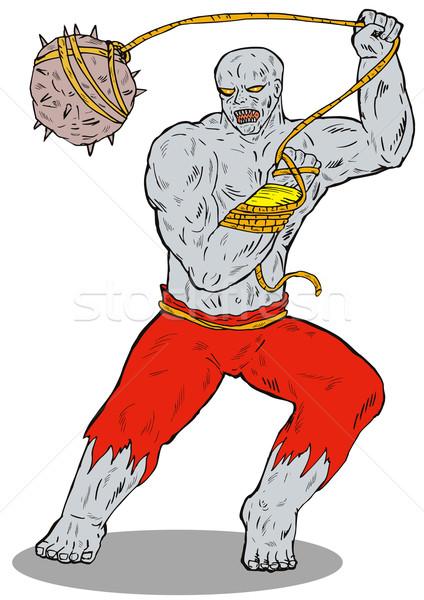 Bösewicht rock Illustration böse Monster isoliert Stock foto © patrimonio
