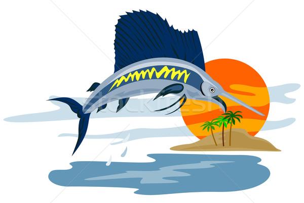 Vis springen eiland retro illustratie zon Stockfoto © patrimonio