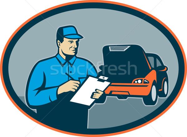 Naprawa samochodów mechanik schowek ilustracja zestaw Zdjęcia stock © patrimonio