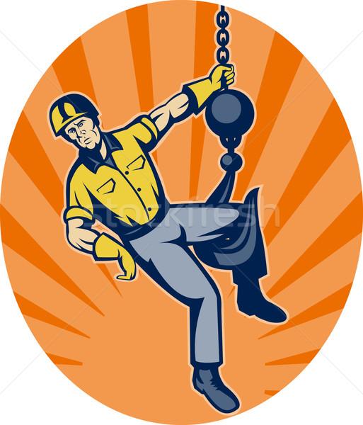 Construction worker hanging on hook Stock photo © patrimonio