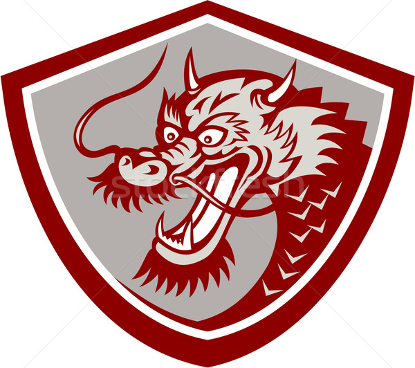 Chinese Red Dragon Head Shield Stock photo © patrimonio