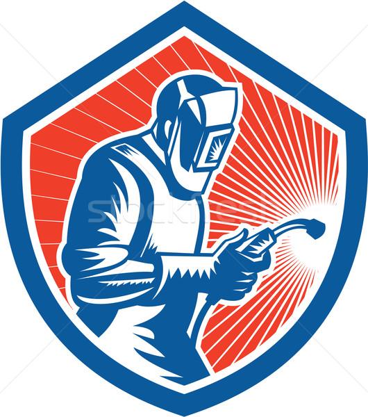 Welder Fabricator Welding Torch Side Shield Retro  Stock photo © patrimonio