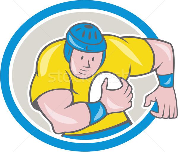 Rugby Player Running Charging Circle Cartoon Stock photo © patrimonio