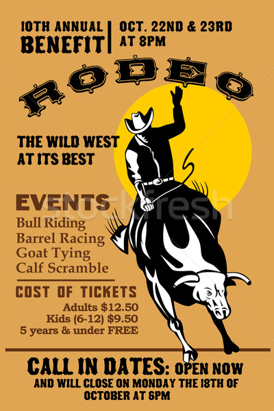 American  Rodeo Cowboy riding bull Stock photo © patrimonio