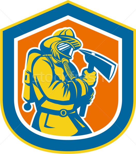 Fireman Firefighter Holding Fire Axe Shield  Stock photo © patrimonio