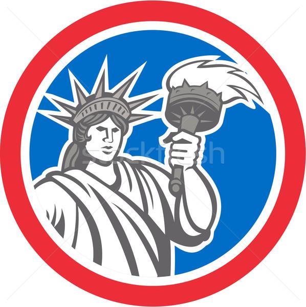 Estátua liberdade chamejante tocha círculo Foto stock © patrimonio
