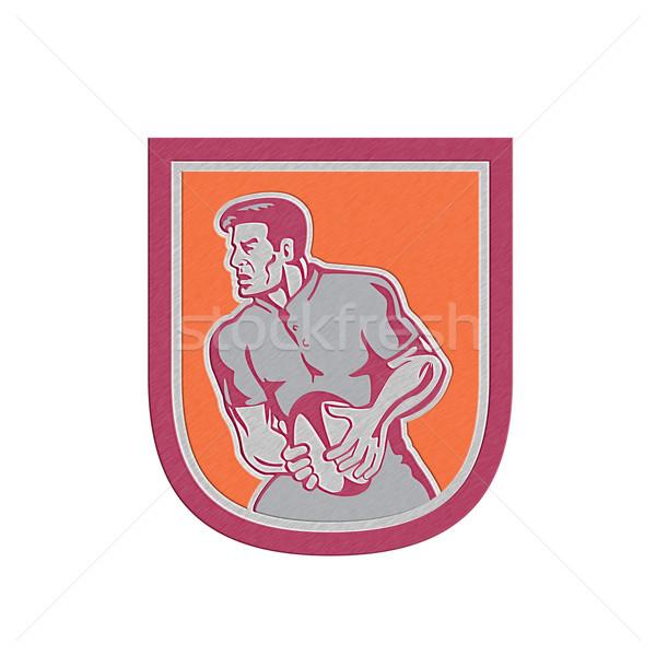 Metallic Rugby Player Passing Ball Sideview Retro Stock photo © patrimonio