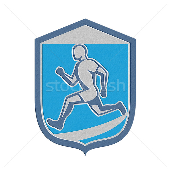 Metallic Sprinter Runner Running Shield Retro Stock photo © patrimonio