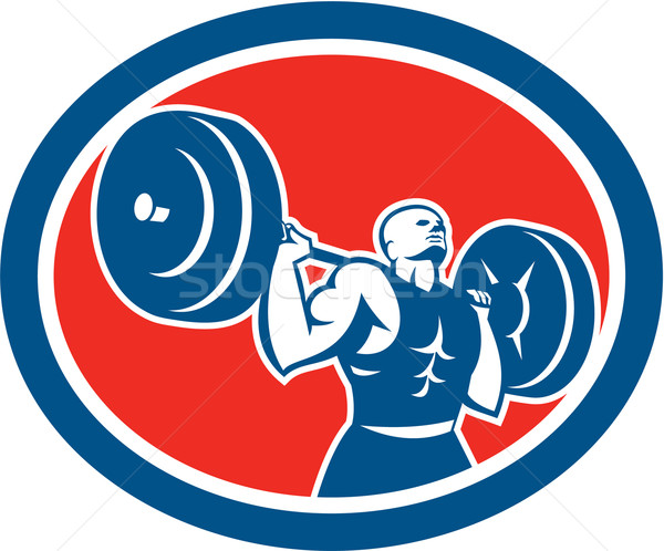 Weightlifter Lifting Barbell Circle Retro Stock photo © patrimonio