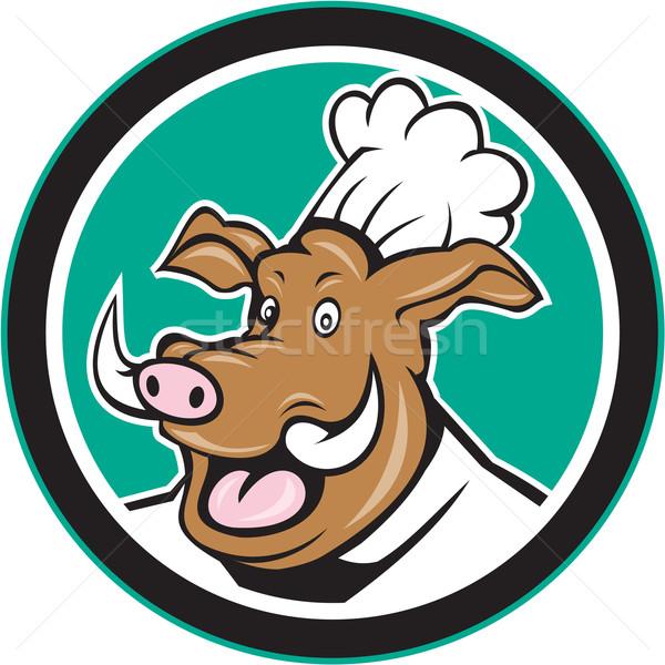 Wild Pig Boar Chef Cook Head Circle Cartoon Stock photo © patrimonio