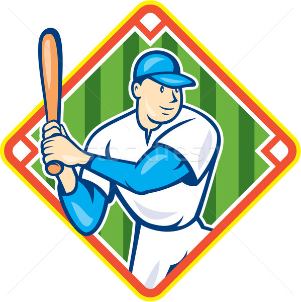 Joueur de baseball diamant cartoon illustration Photo stock © patrimonio