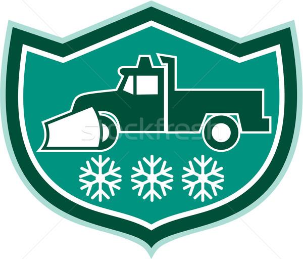 Snow Plow Truck Snowflakes Shield Retro Stock photo © patrimonio