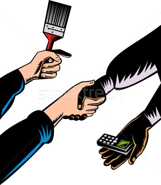 Stretta di mano baratto telefono cellulare pennello illustrazione isolato Foto d'archivio © patrimonio