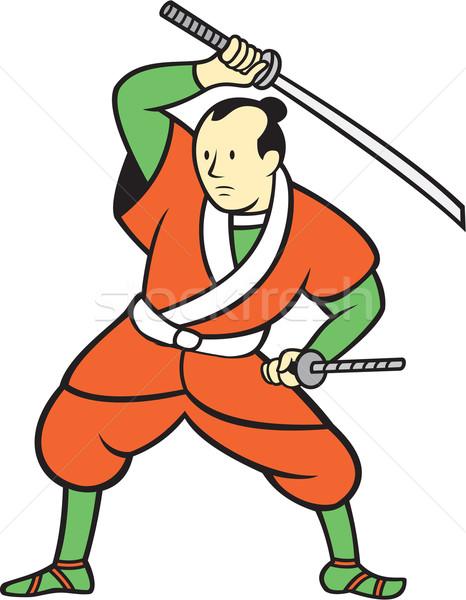 Samurai guerreiro espada desenho animado ilustração em pé Foto stock © patrimonio
