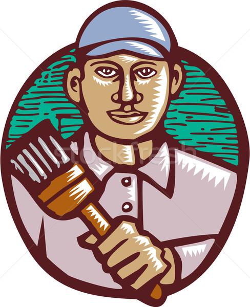 House Painter Paintbrush Woodcut Linocut Stock photo © patrimonio