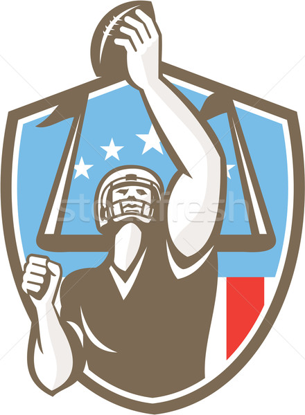 American Football Player Touchdown Goal Post Retro Stock photo © patrimonio
