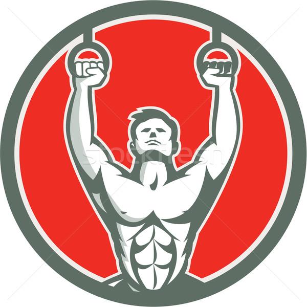 Kipping Muscle Up Cross-fit Circle Retro Stock photo © patrimonio