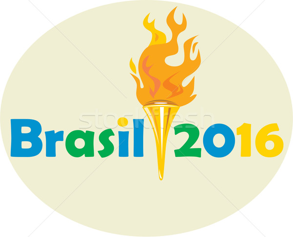 Brasil 2016 Summer Games Flaming Torch Stock photo © patrimonio