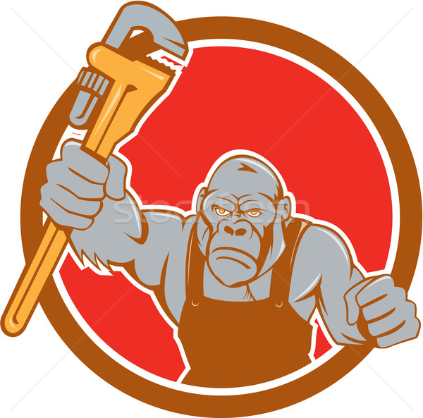 Angry Gorilla Plumber Monkey Wrench Circle Cartoon Stock photo © patrimonio