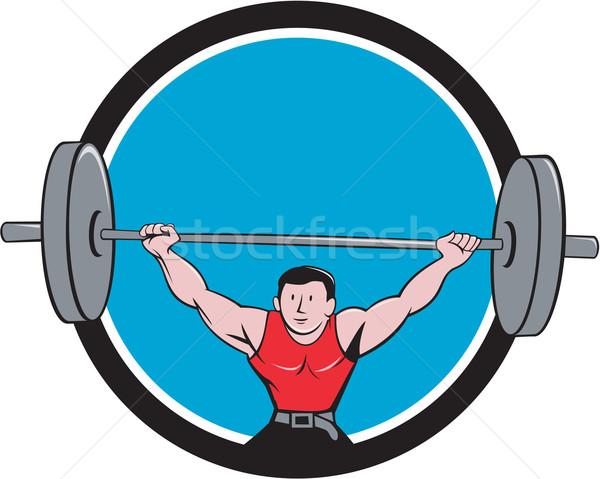Weightlifter Deadlift Lifting Weights Circle Cartoon Stock photo © patrimonio