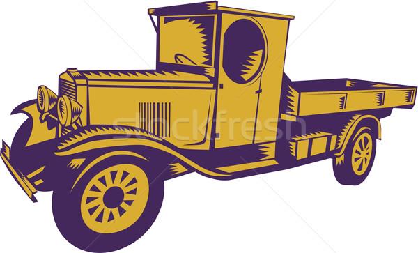 1920 caminhão ilustração vintage lado isolado Foto stock © patrimonio