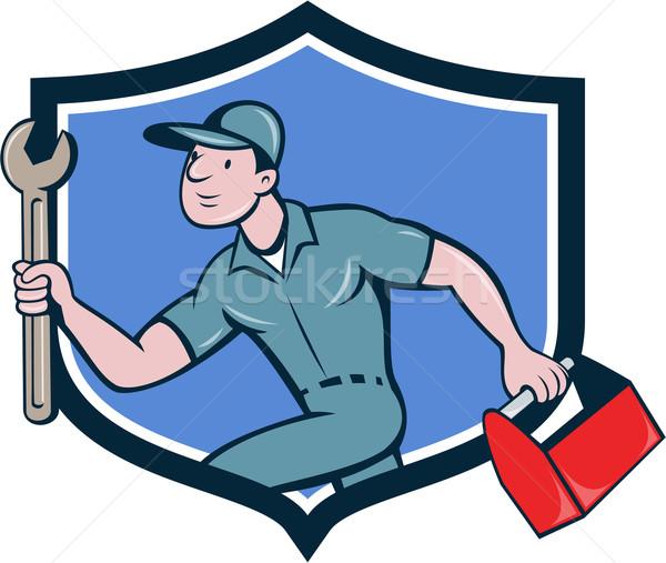 Szerelő csavarkulcs szerszámosláda fut címer rajz Stock fotó © patrimonio