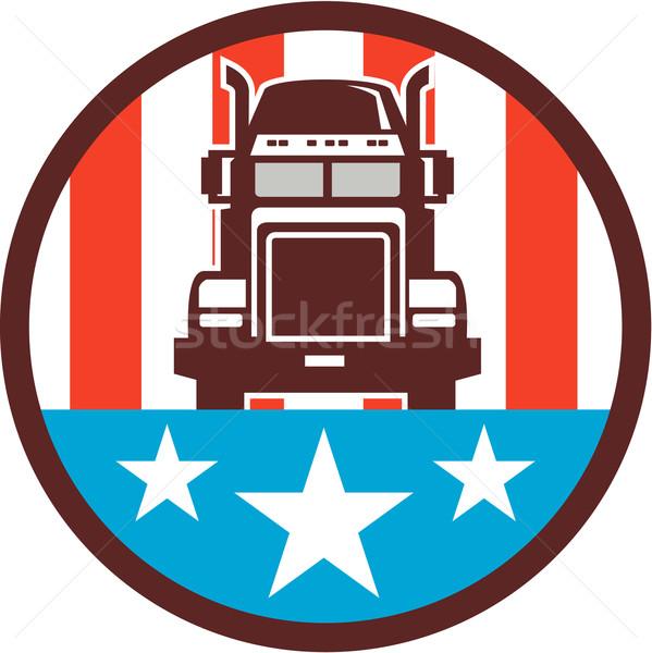 Truck USA Flag Circle Retro Stock photo © patrimonio