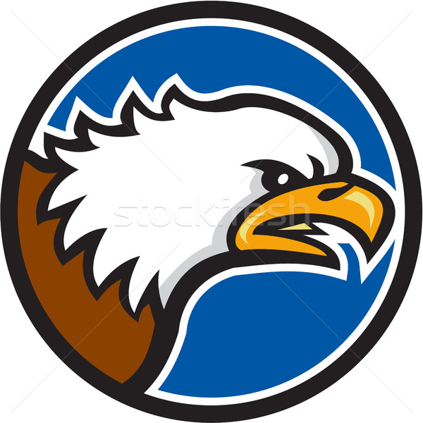Bald Eagle Head Screaming Circle Retro Stock photo © patrimonio