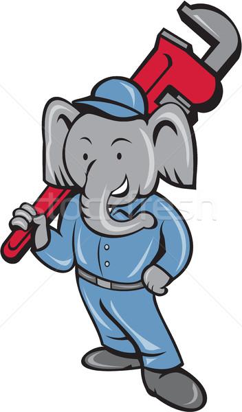 Elephant Plumber Monkey Wrench Cartoon Stock photo © patrimonio