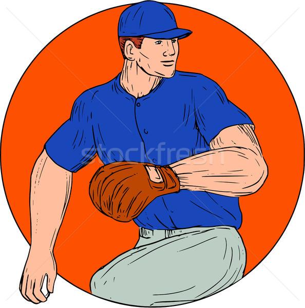 Baseball Pitcher Ready To Throw Ball Circle Drawing Stock photo © patrimonio