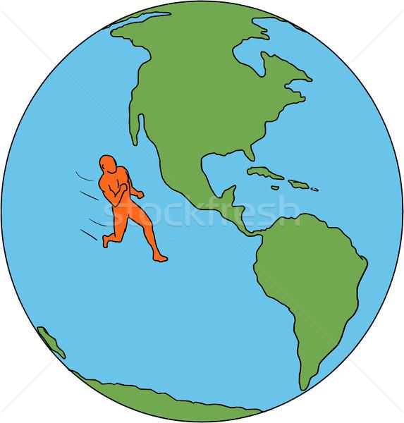 Maraton runner uruchomiony na północ ameryka południowa rysunek Zdjęcia stock © patrimonio
